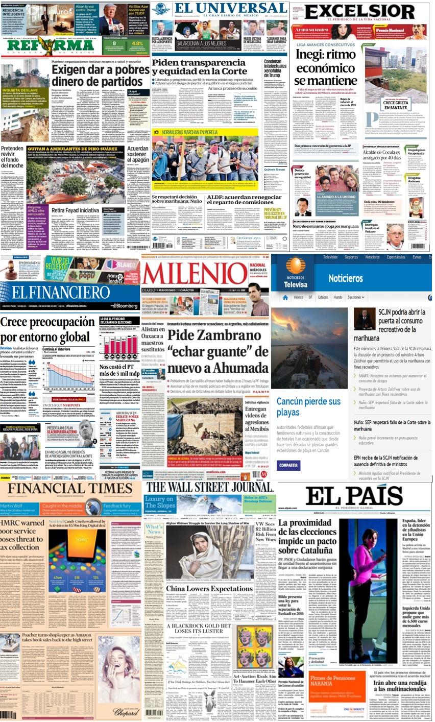 Las principales portadas en la prensa de México y el mundo del 4 de noviembre.