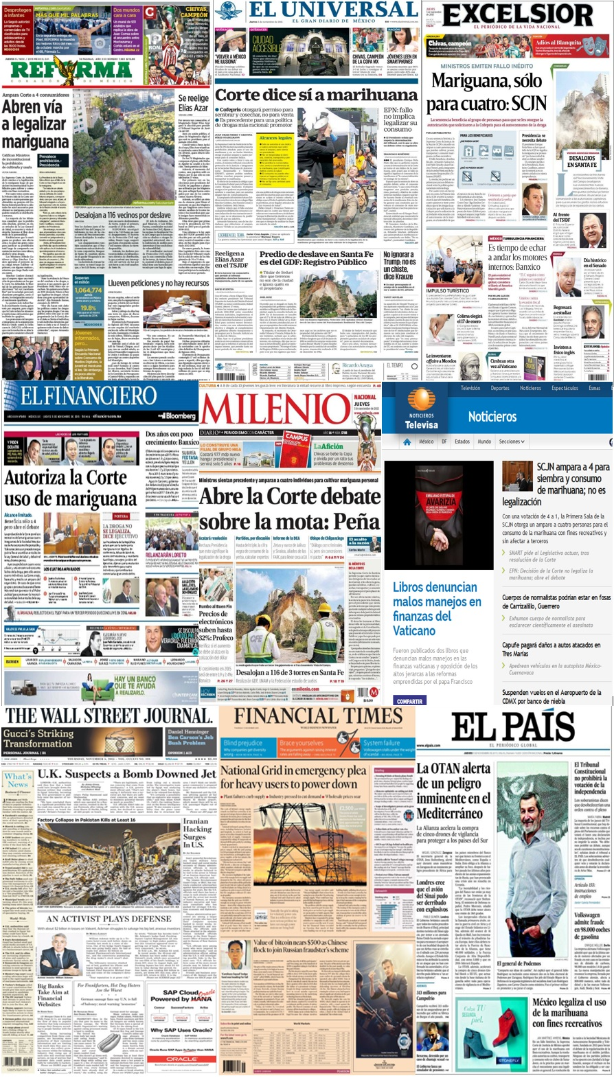 Las principales portadas en la prensa de México y el mundo del 5 de noviembre.