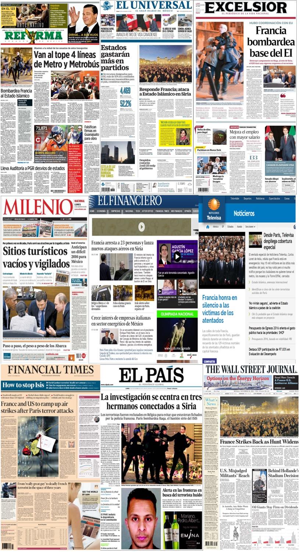 Las principales portadas en la prensa de México y el mundo del 16 de noviembre.
