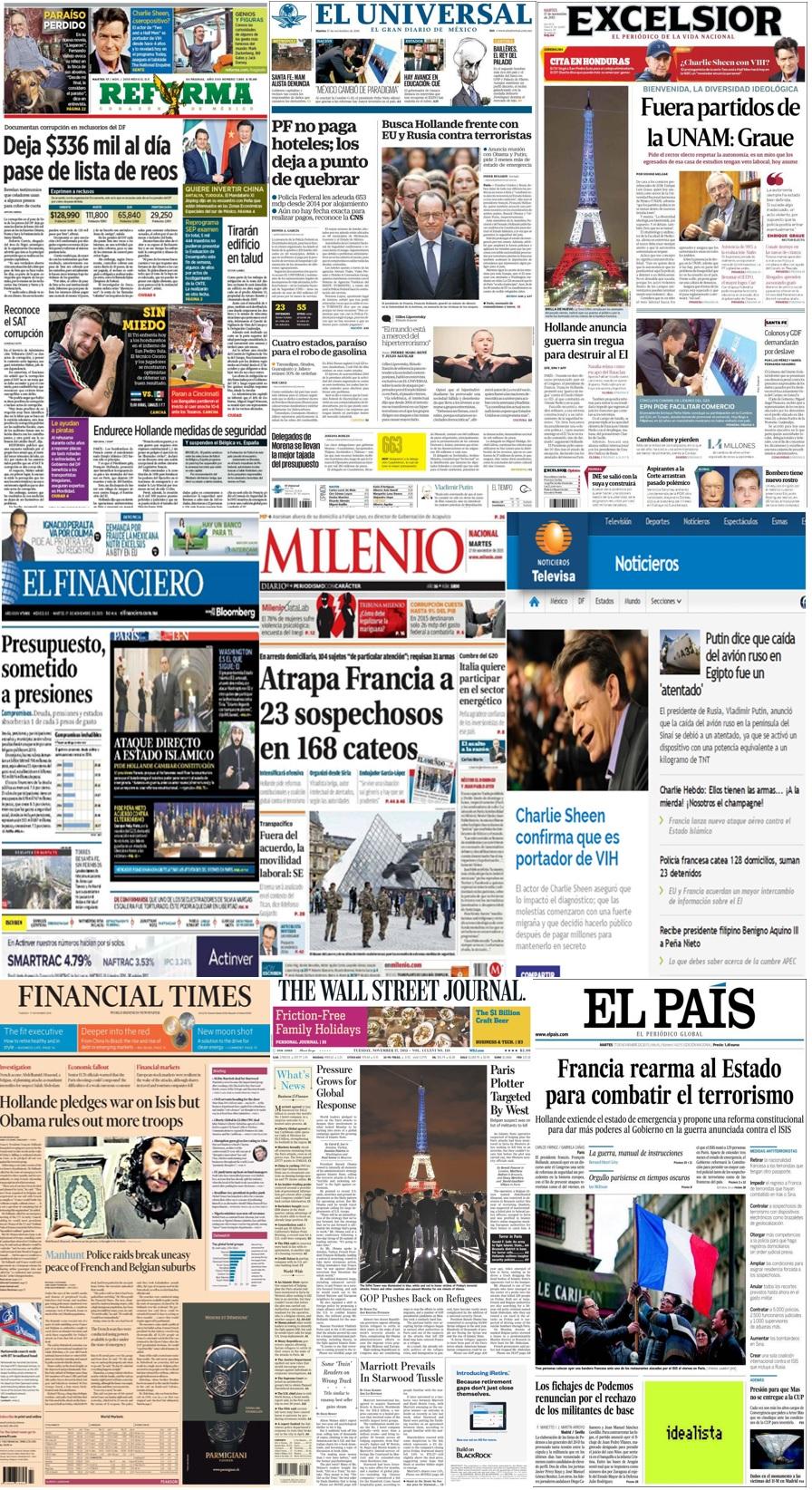 Las principales portadas en la prensa de México y el mundo del 17 de noviembre.