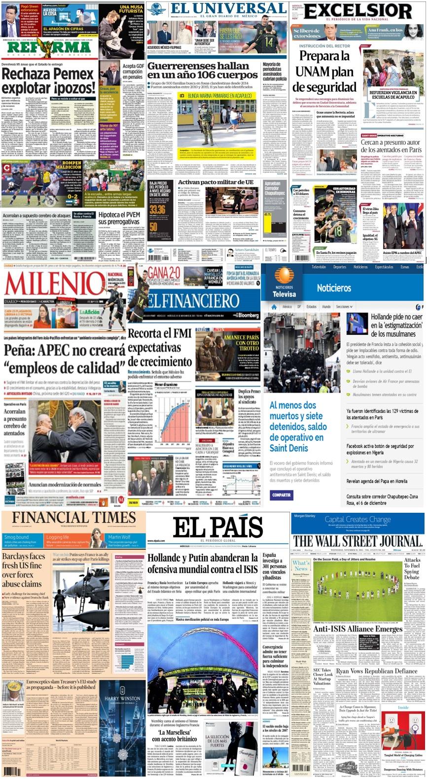 Las principales portadas en la prensa de México y el mundo del 18 de noviembre.