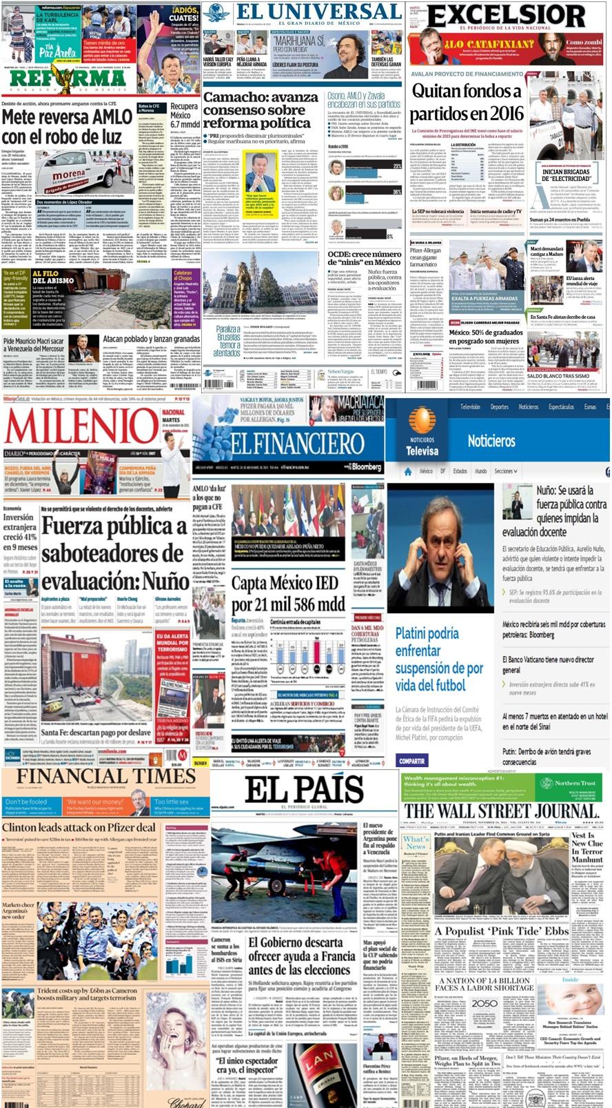 Las principales portadas en la prensa de México y el mundo del 24 de noviembre.