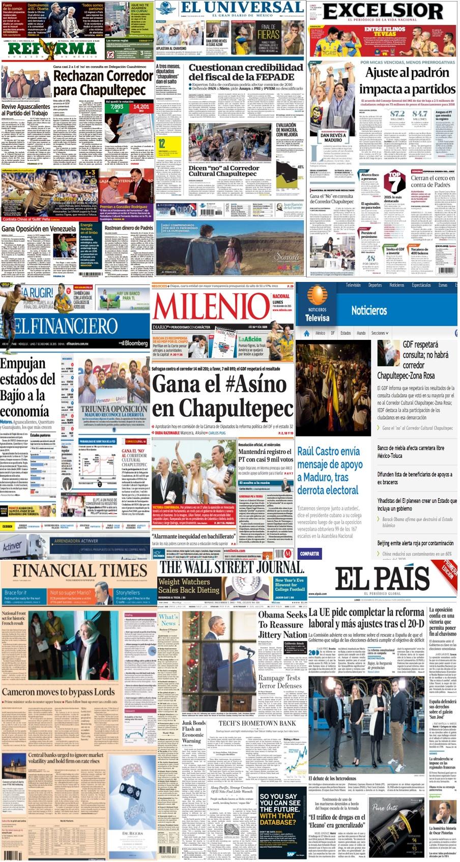Las principales portadas en la prensa de México y el mundo del 7 de diciembre.
