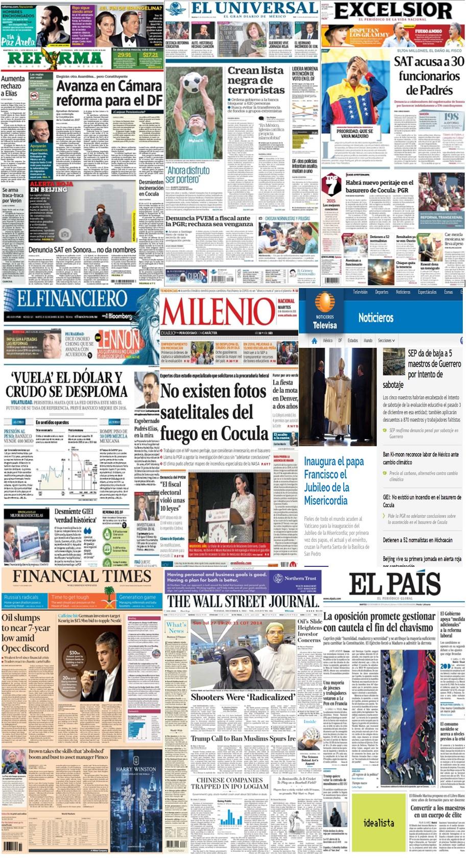 Las principales portadas en la prensa de México y el mundo del 8 de diciembre.