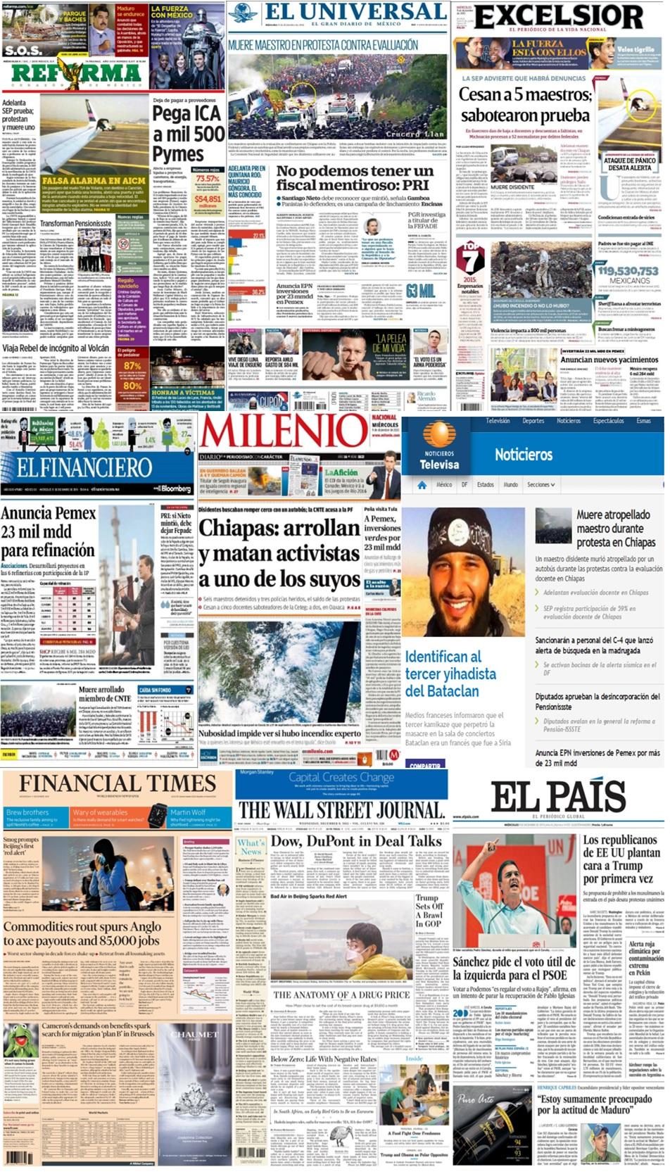 Las principales portadas en la prensa de México y el mundo del 9 de diciembre.