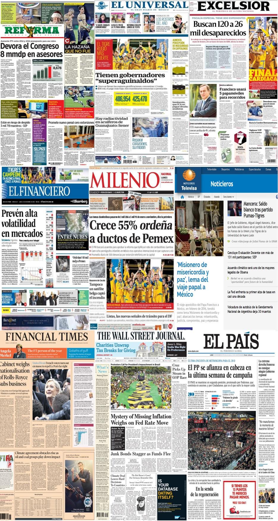 Las principales portadas en la prensa de México y el mundo del 14 de diciembre.
