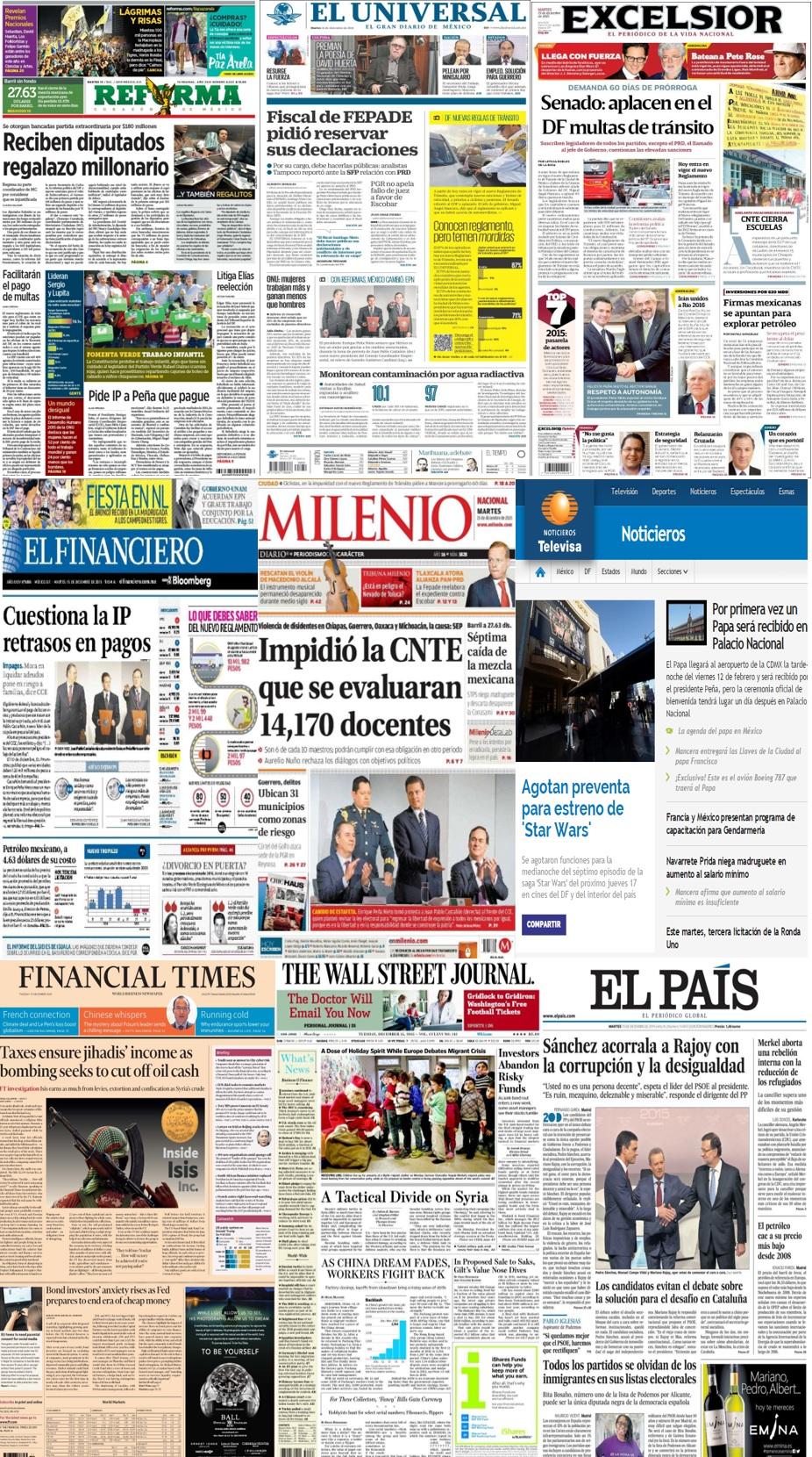 Las principales portadas en la prensa nacional e internacional del 15 de diciembre.