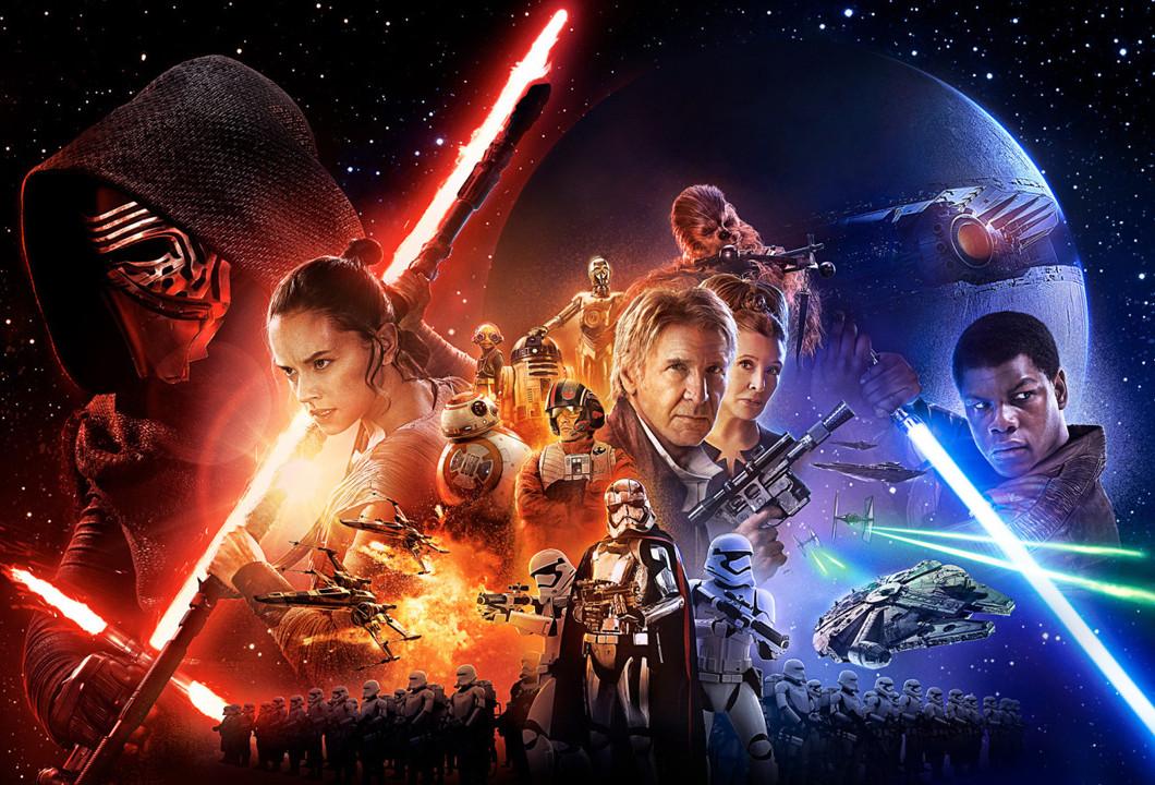 The Force Awakens, dirigida por J.J. Abrams y protagonizada por Harrison Ford, Carrie Fisher, Mark Hamill, Daisey Ridley, John Boyega, Oscar Isaac y Adam Driver