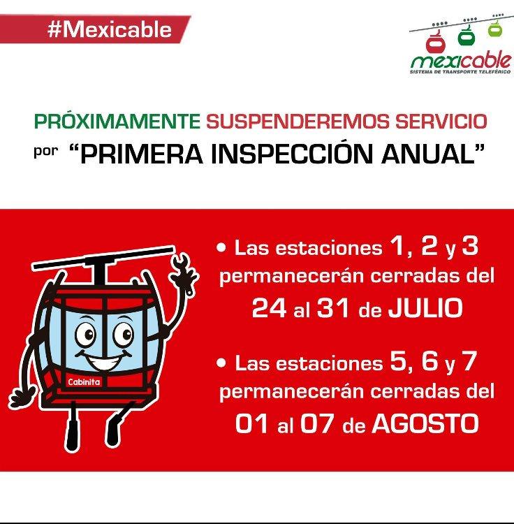 El mexicable suspenderá el servicio para inspeccionar las instalaciones