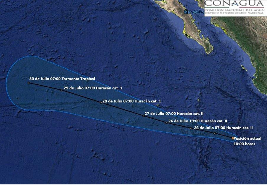 Hilary se convirtió en huracán categoría 2 la noche del lunes 24 de julio