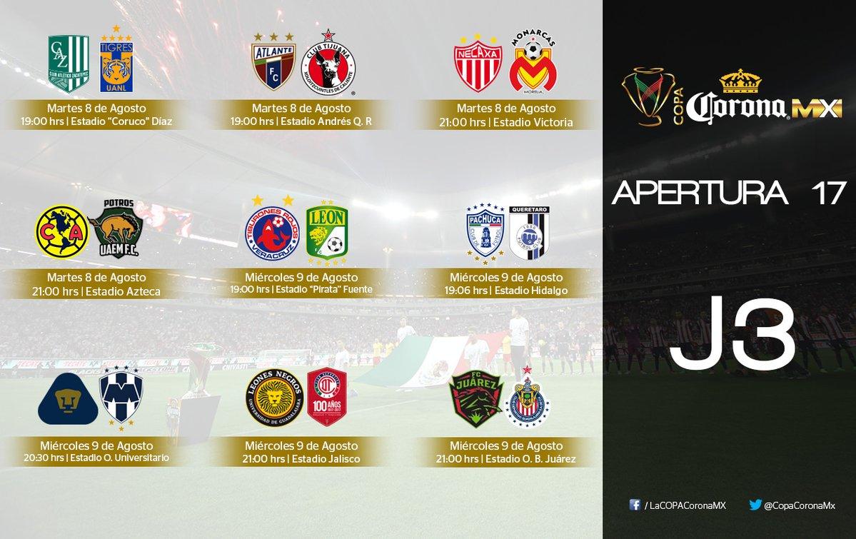 Arranca la Jornada 3 de la edición Apertura 2017 de la Copa Mx