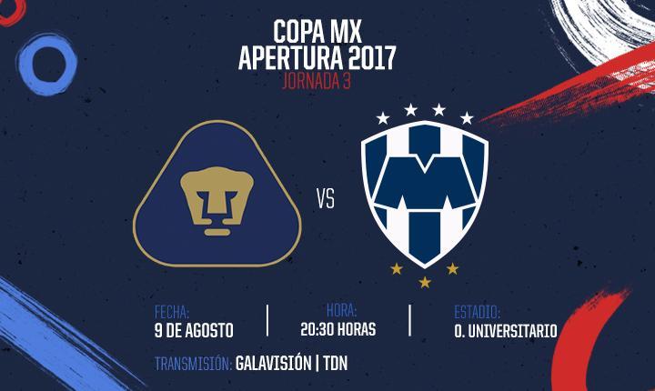 Pumas recibe a Monterrey en la Jornada 3 de la Copa Mx