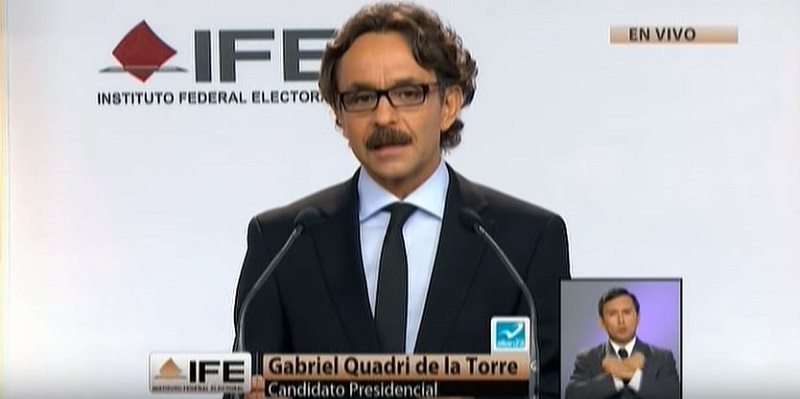 Ing. Gabriel Quadri, durante el primer debate presidencial del 2012