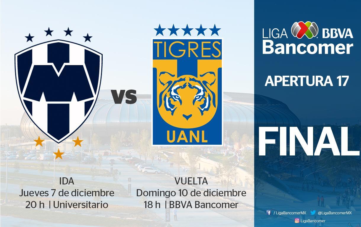 Final del Apertura 2017. Foto: Monterrey vs Tigres/Liga Mx