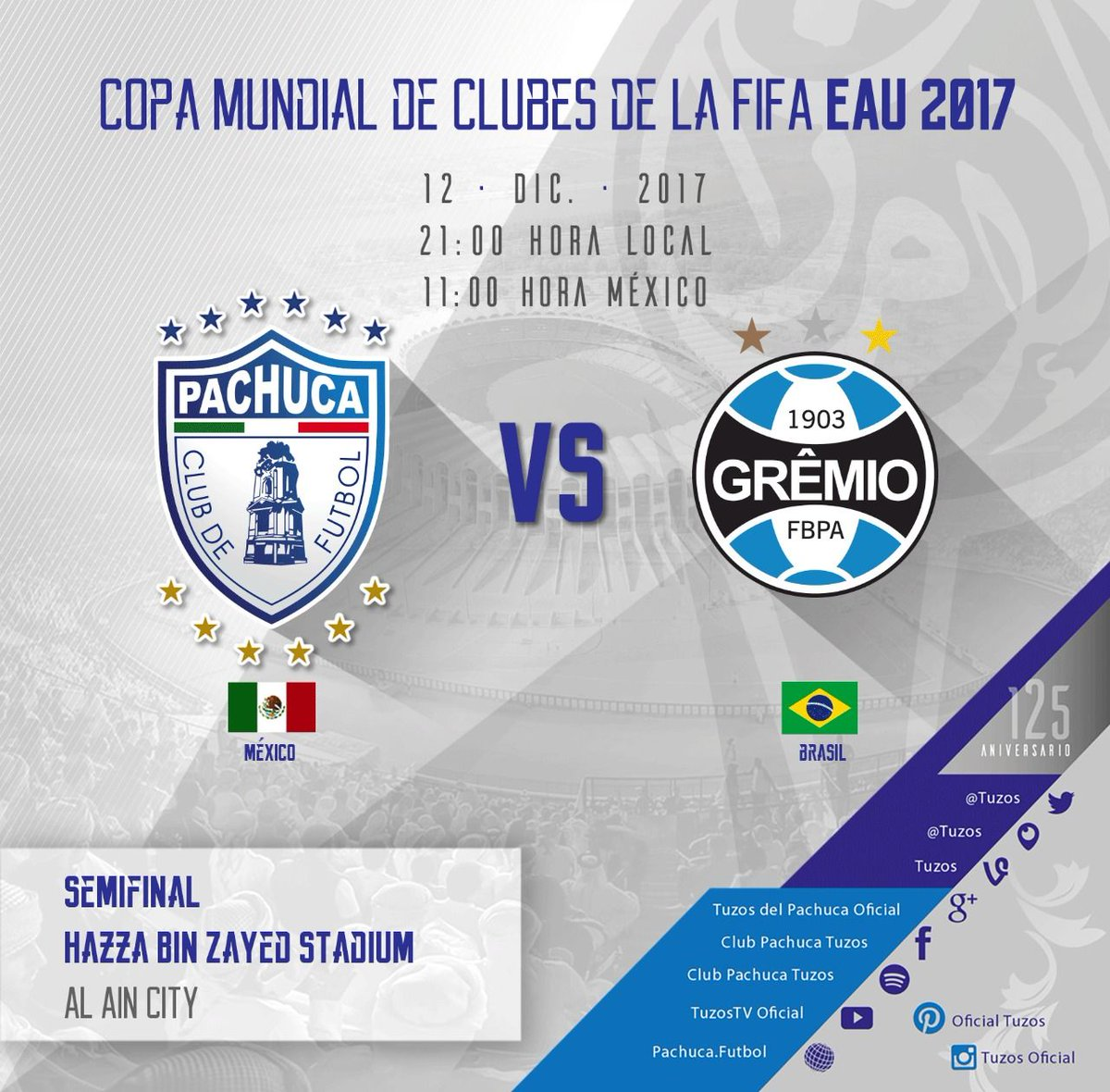 Pachuca juega la semifinal con Gremio. Foto: Pachuca/Twitter @Tuzos