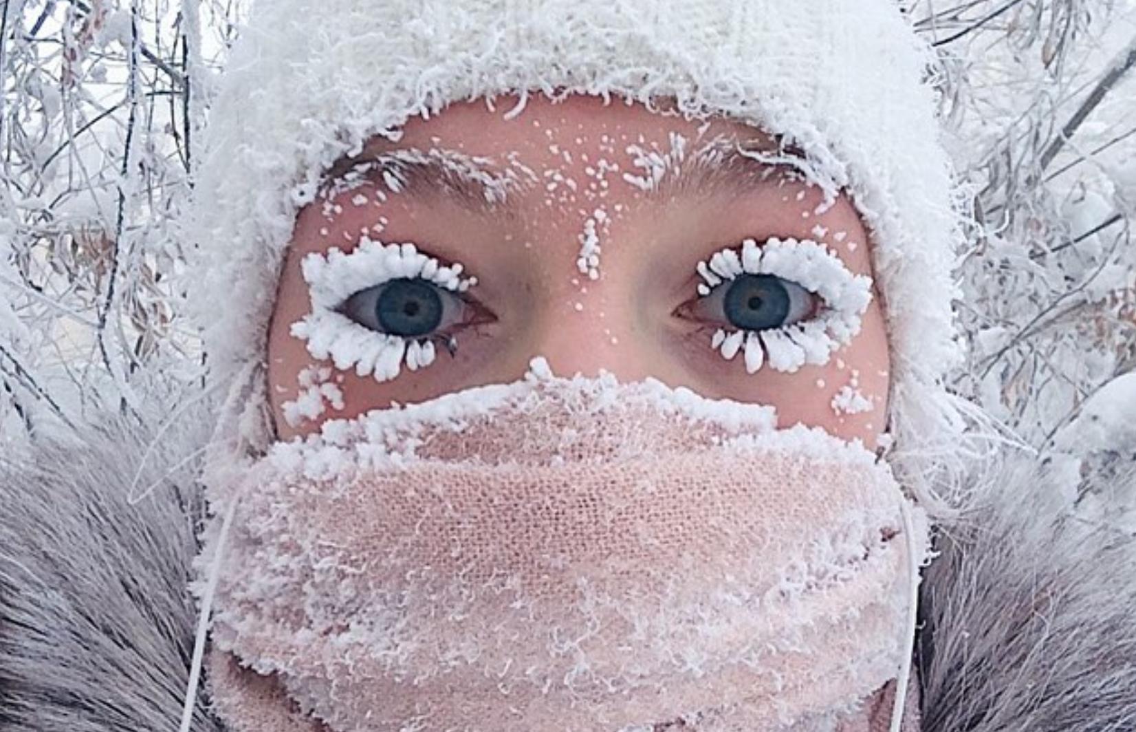 En Yakutia, Rusia el frío extremo congela hasta las pestañas