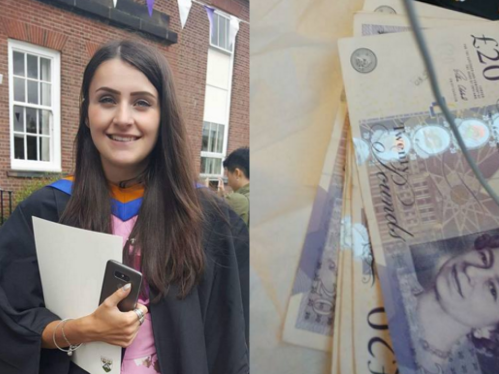 La joven estudiante recibió 100 libras de un desconocido cuando viajaba en tren. Fotos: Facebook