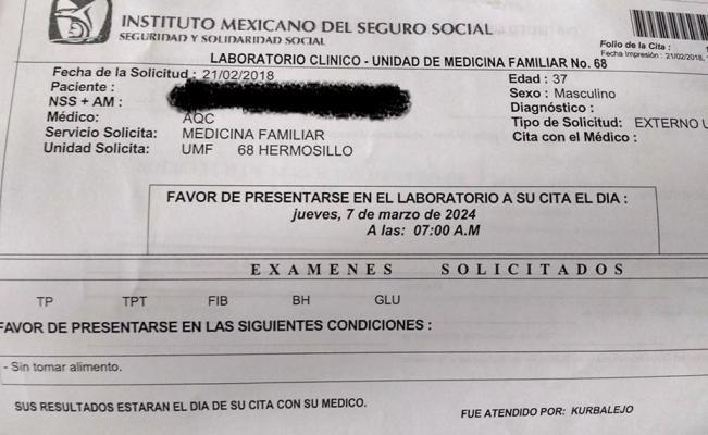 Personal de un centro médico del IMSS Sonora programó una cita para el 2024. Foto: Facebook