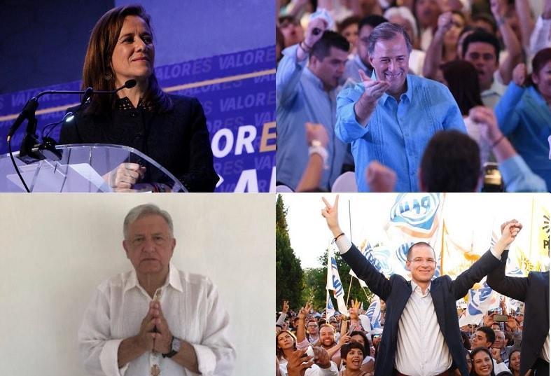 Los candidatos: Margarita Zavala, José Antonio Meade, López Obrador y Ricardo Anaya.