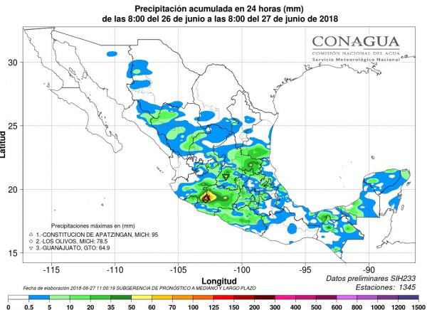 Informe de lluvias Servio Meteorológico Nacional Foto: Servicio Meteorológico Nacional