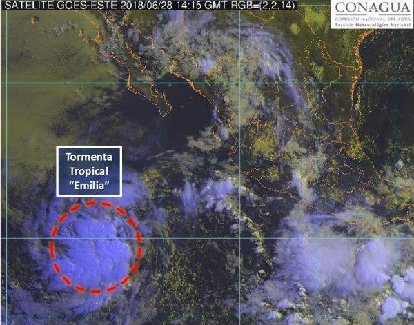 Tormenta tropical Emilia al sur de Baja California Foto: @conagua_clima