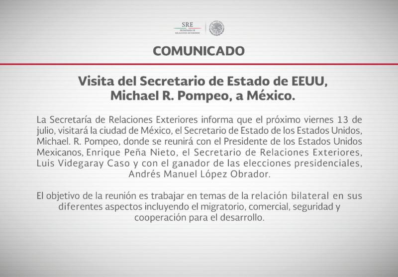 Comunicado de Presidencia Foto: @PresidenciaMX