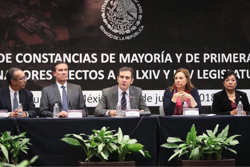 Entrega de constancias de mayoría y primera minoría en el Senado de la República. Foto: Twitter  Senado de México @senadomexicano