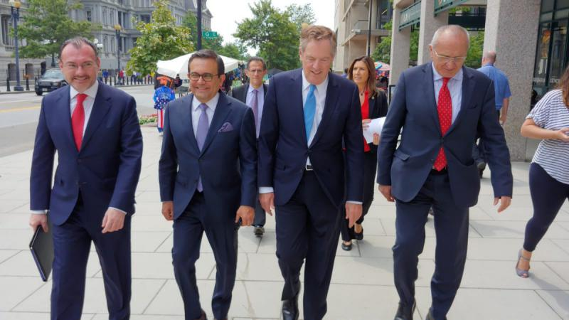 Reunión entre Luis Videgaray, Ildefonso Guajardo, Robert Lighthizer y Jesús Seade en Washington el pasado 26 de julio. Foto: Twitter Secretaría de Relaciones Exteriores @SRE_mx