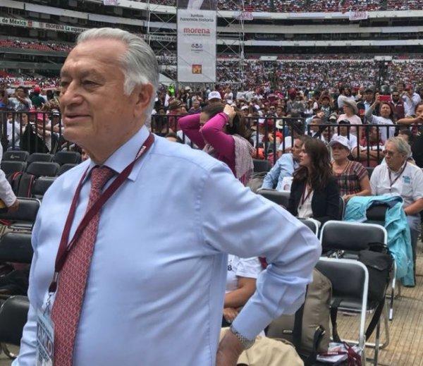 Manuel Bartlett durante cierre de campaña de Andrés Manuel López Obrador Foto: Twitter Manuel Bartlett @ManuelBartlett