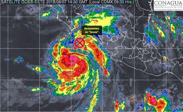 Huracán John y tormenta tropical Ileana Foto: Twitter Servicio Meteorológico Nacional @conagua_clima