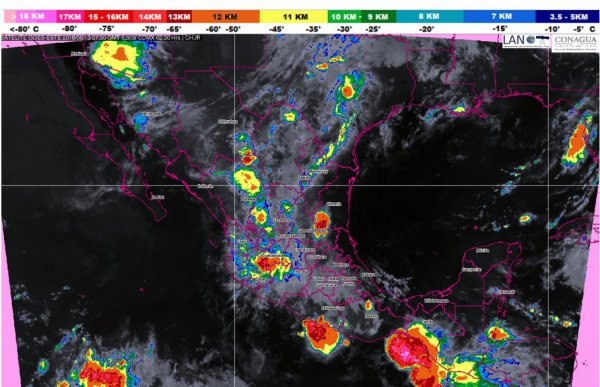 Pronóstico de tormentas del SMN Foto: Twitter @conagua_clima
