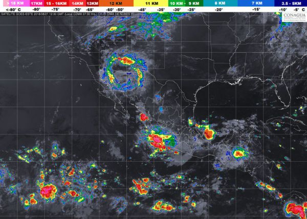 Pronóstico de lluvias del Servicio Meteorológico Nacional Foto: Twitter @conagua_clima