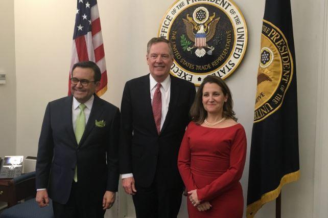 Ildelfonso Guajardo, Robert Lighthizer y Chrystia Freeland, los negociadores del TLCAN por parte de México, Estados Unidos y Canadá, respectivamente.