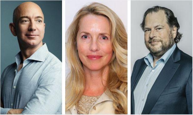 Jeff Bezos, Laurene Powell y Marc Benioff