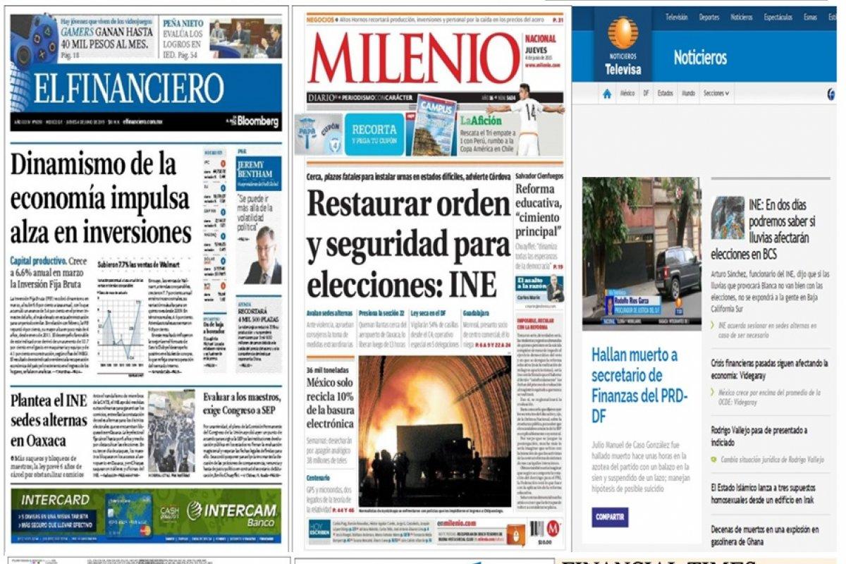 Los principales titulares en la prensa nacional e internacional del 4 de junio.