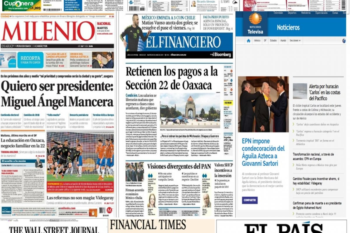 Los principales titulares de la prensa nacional e internacional del 16 de junio.