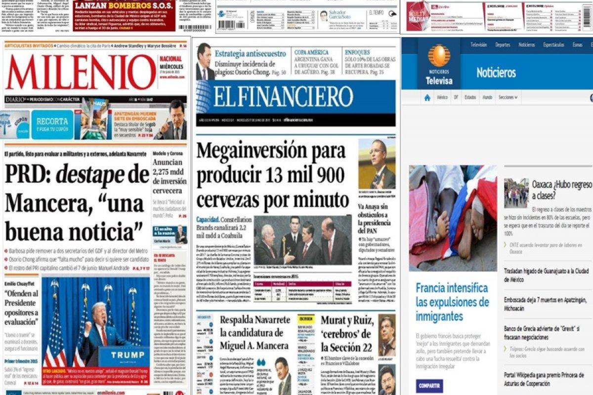 Los principales titulares en la prensa nacional e internacional del 17 de junio.