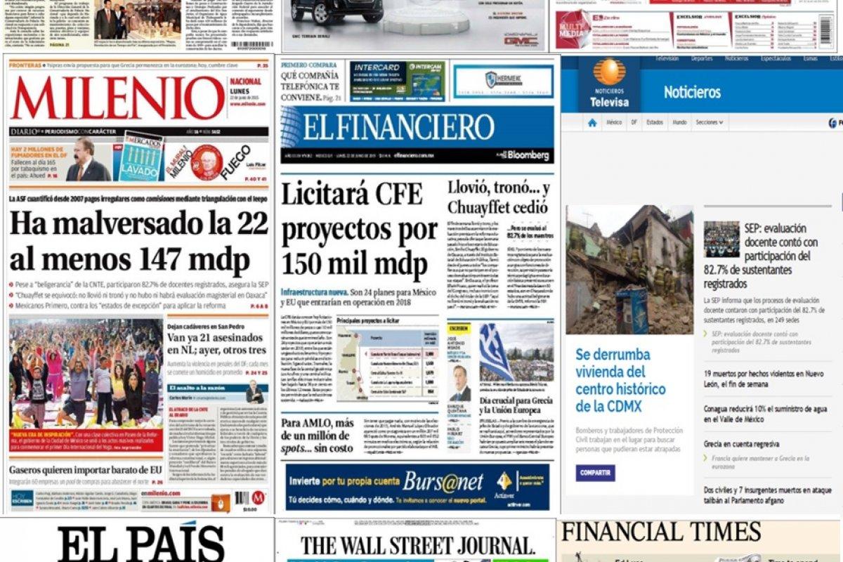 Los principales titulares en la prensa nacional e internacional del 22 de junio.