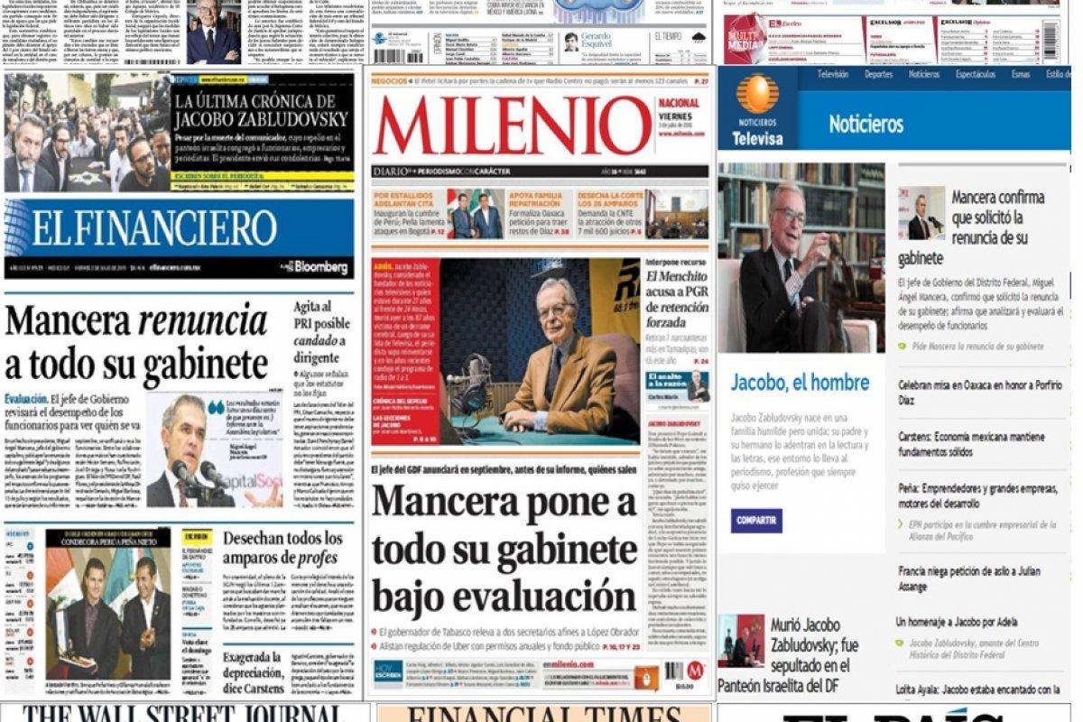 Los principales titulares en la prensa nacional e internacional del 3 de julio.