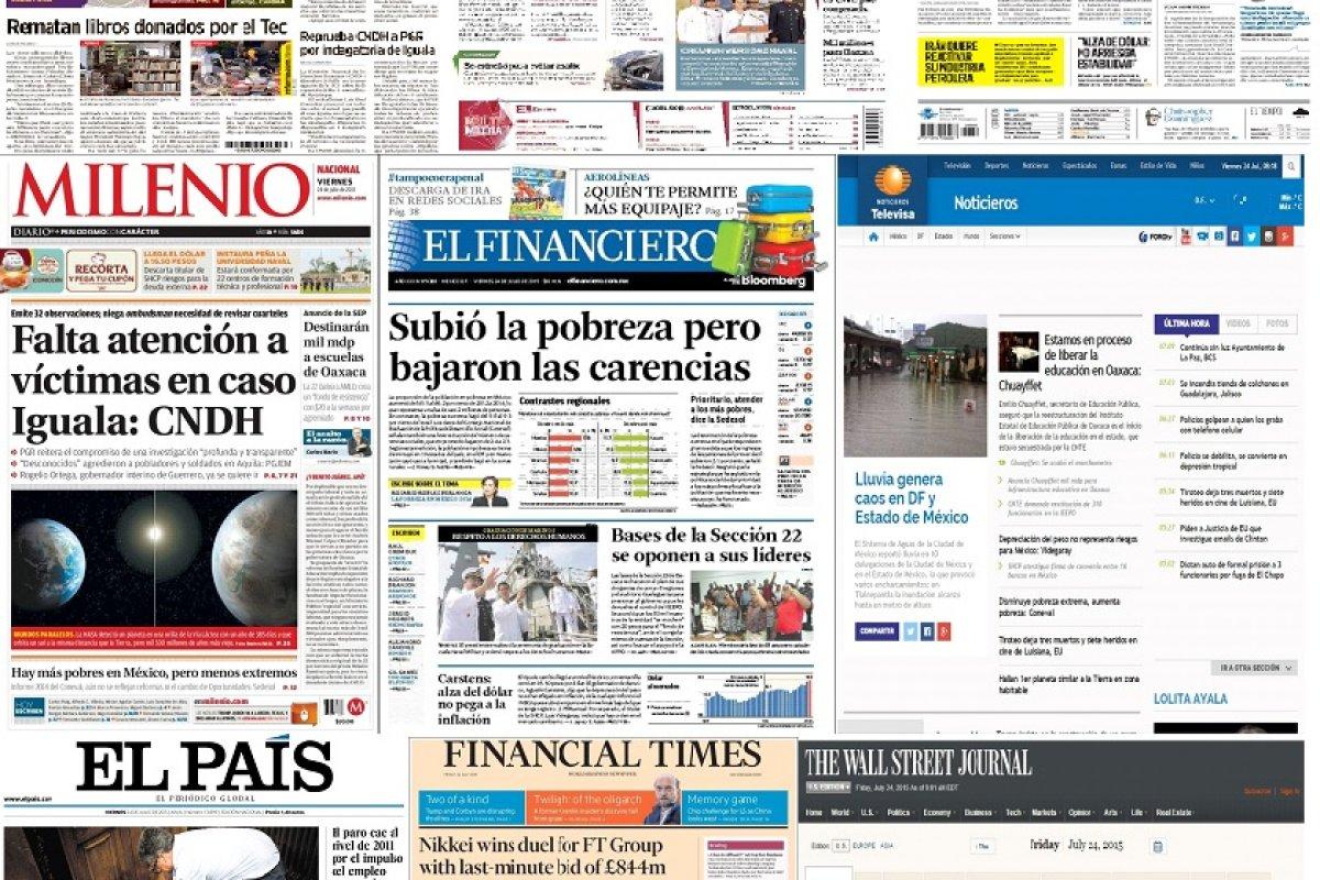 Los principales titulares de México y el mundo del 24 de julio