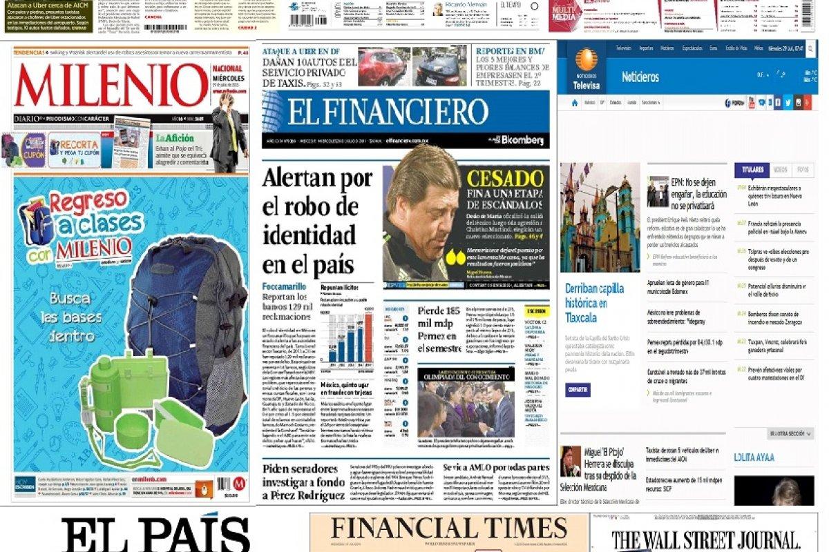 Los principales titulares de México y el mundo del 29 de julio