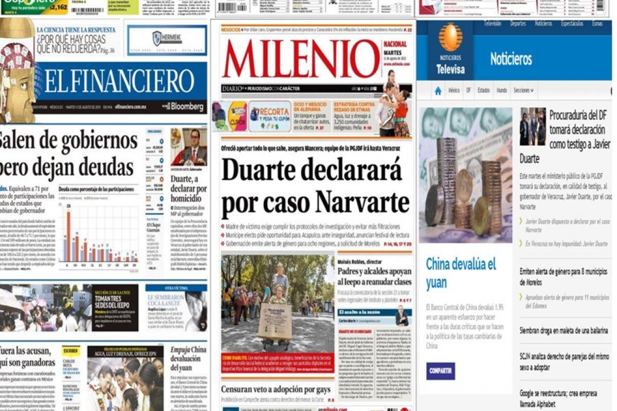 Los principales titulares en la prensa de México y el mundo del 11 de agosto.
