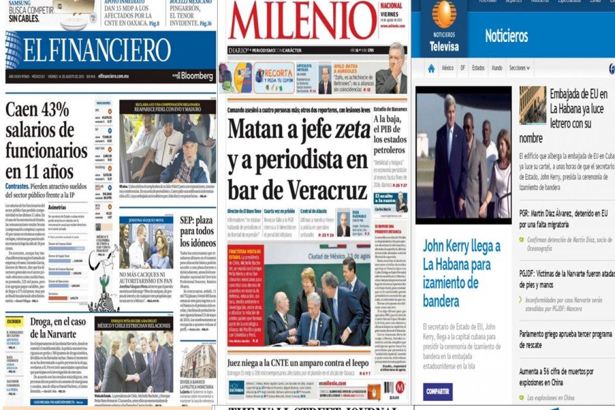 Las principales portadas en la prensa nacional e internacional del 14 de agosto.