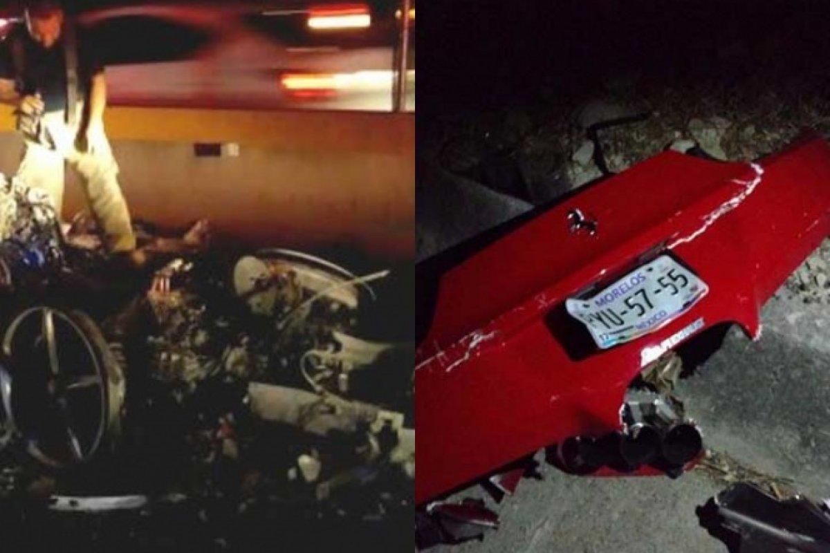 En el Ferrari rojo viajaban dos colombianas y un hombre a exceso de velocidad.