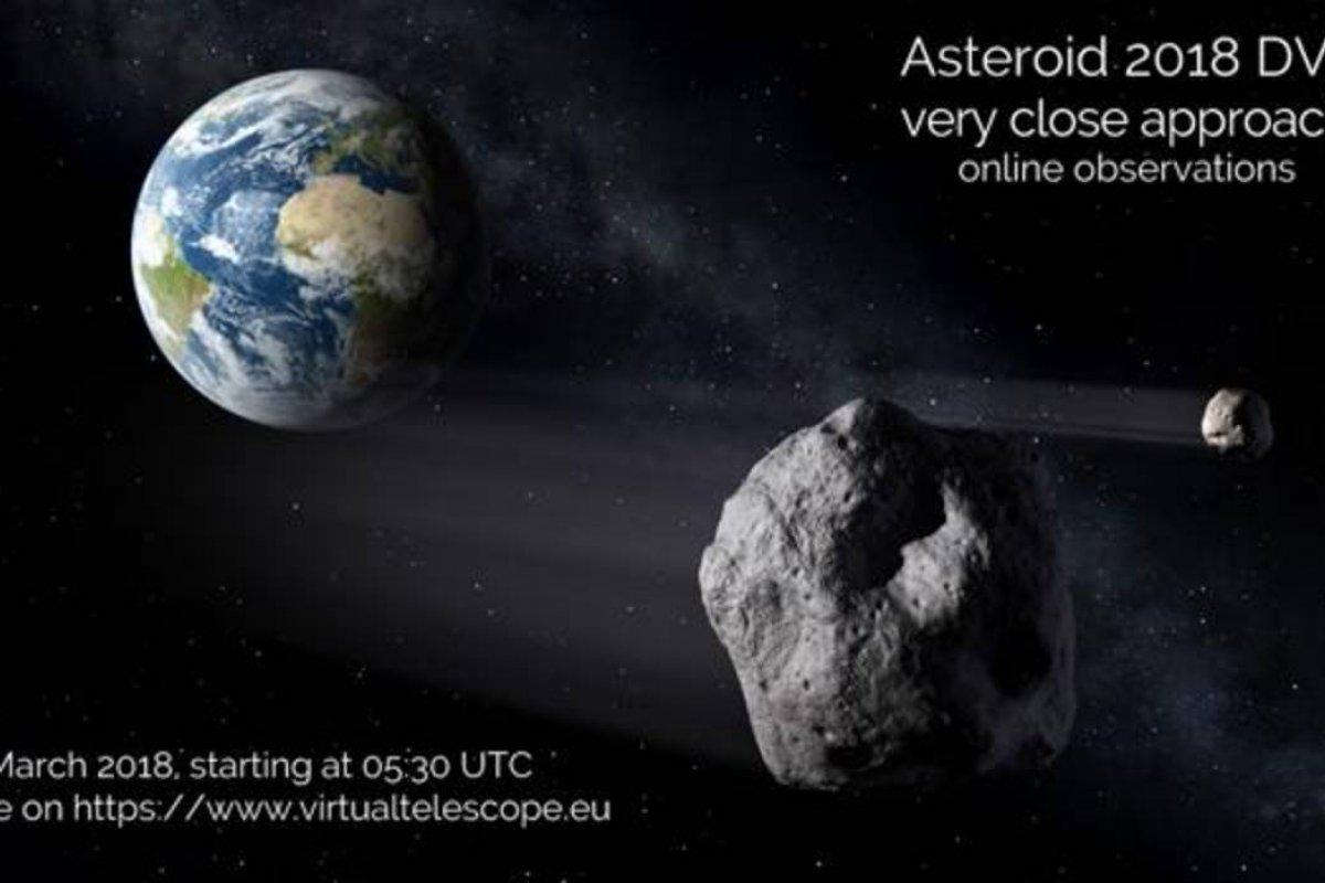 El asteroide 2018 DV1 pasará próximo a la tierra la mañana del 2 de marzo.