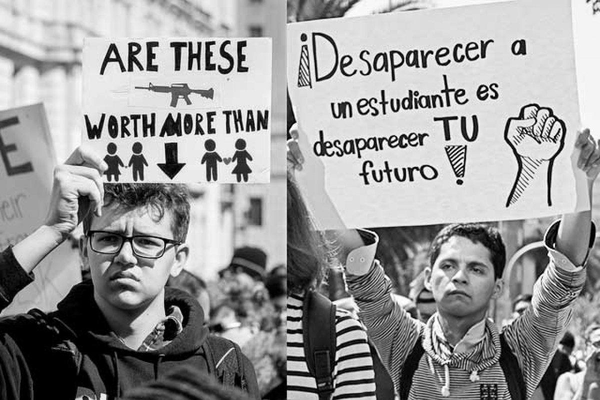 En Guadalajara se marchó por encontrar a los estudiantes desaparecidos y en Washington por protegerlos de las armas