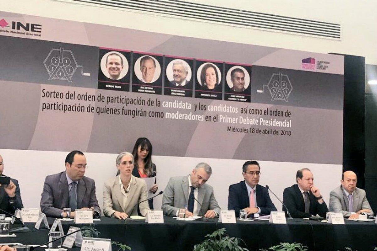 INE sorteo para el debate/Fuente: Twitter @INEMexico