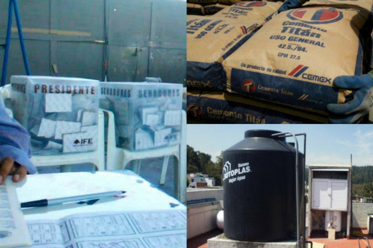 El caso de la entrega de tinacos en es el más reportado, pero las ventas de cemento también reflejan la compra de votos.
