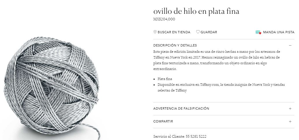 Ovillo de plata tiffany